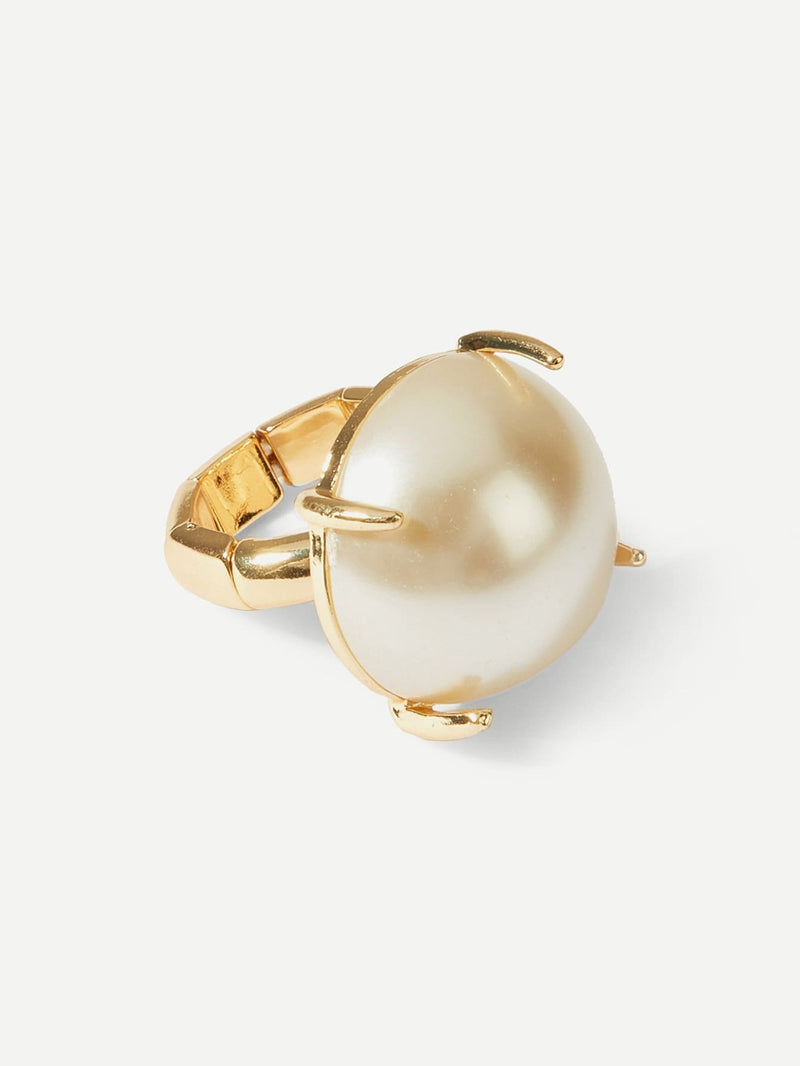 Faux Pearl Decorated Ring - Rings