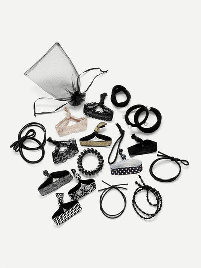 Faux Pearl & Knotted Hair Tie 20Pcs With Mesh - Hair Accessories