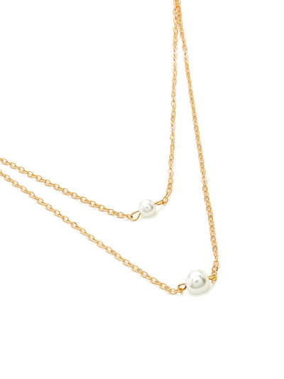 Faux Pearl Pendant Layered Chain Necklace - Necklaces