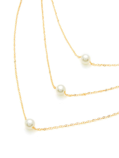 Faux Pearl Pendant Layered Link Festival Necklace - Necklaces