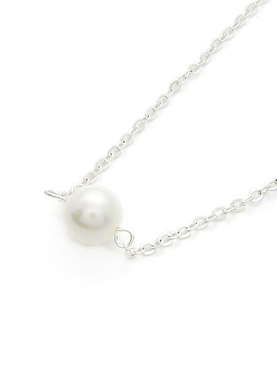 Faux Pearl Pendant Link Necklace - Necklaces