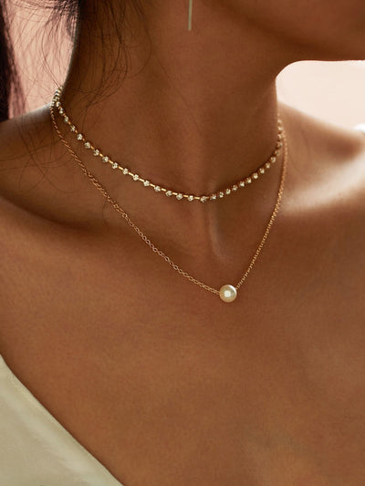 Faux Pearl Pendant Rhinestone Choker Necklace 2Pcs - Necklaces