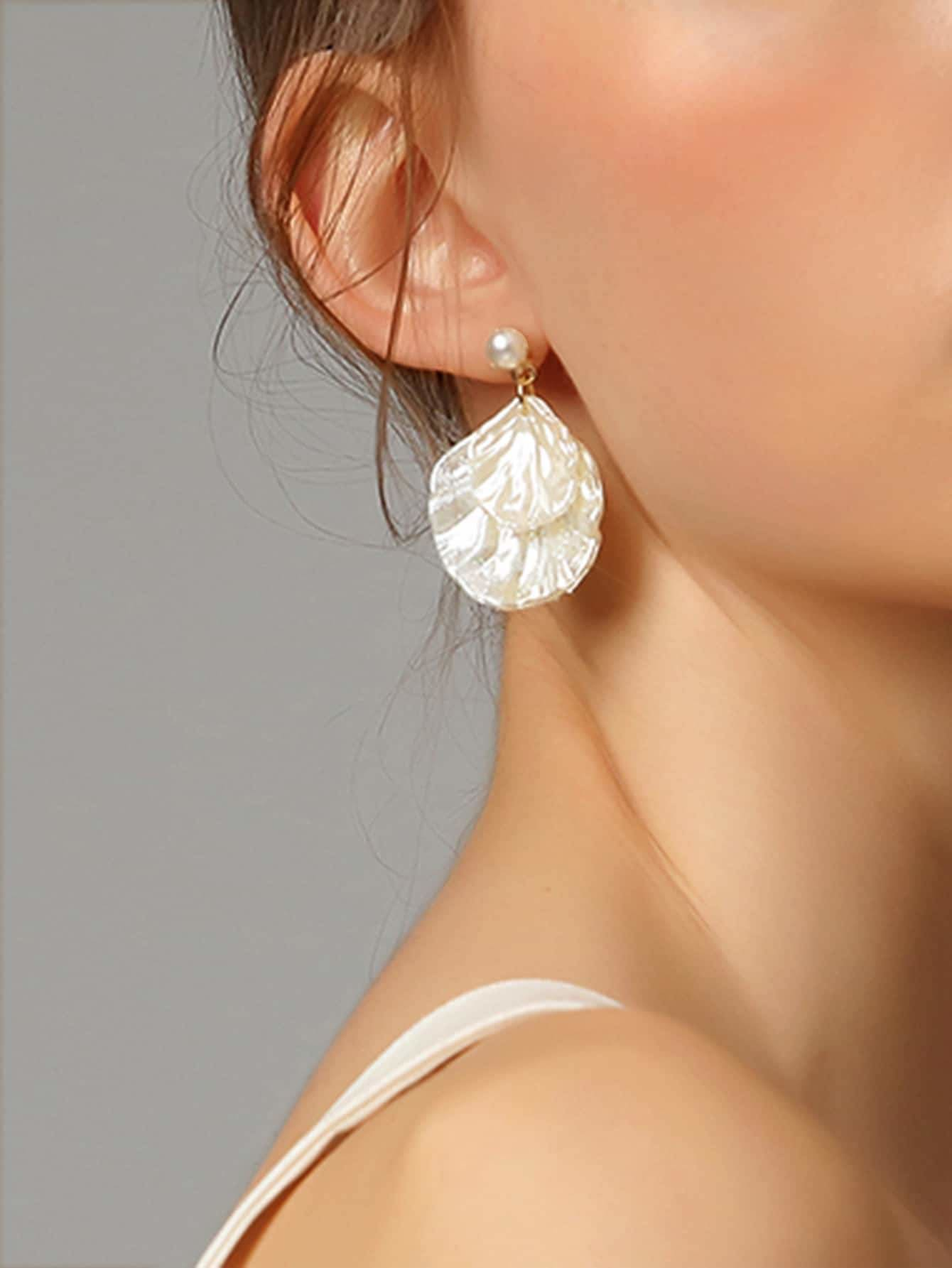 Faux Pearl Shell Shaped Drop Earring 1pair - Earrings