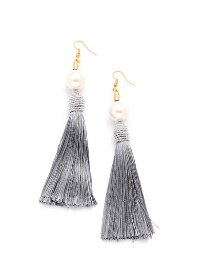 Faux Pearl Top Tassel Earrings - Earrings