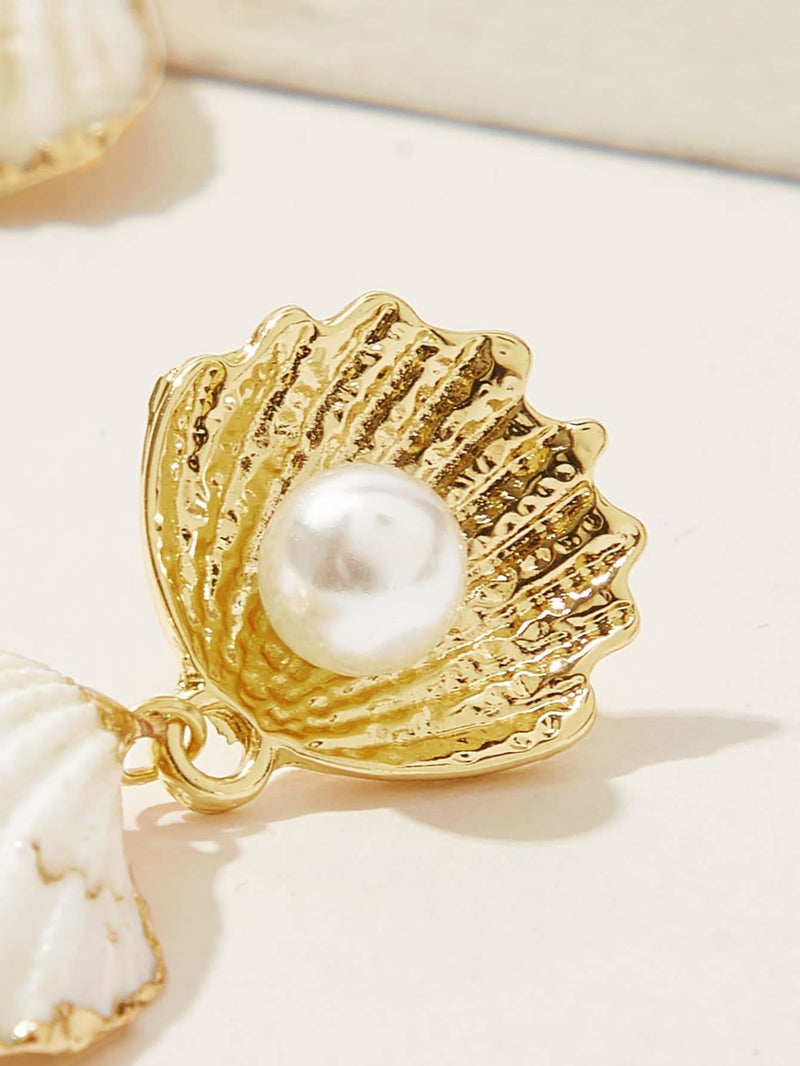Faux Pearls Double Shell Drop Earrings 1pair - Earrings