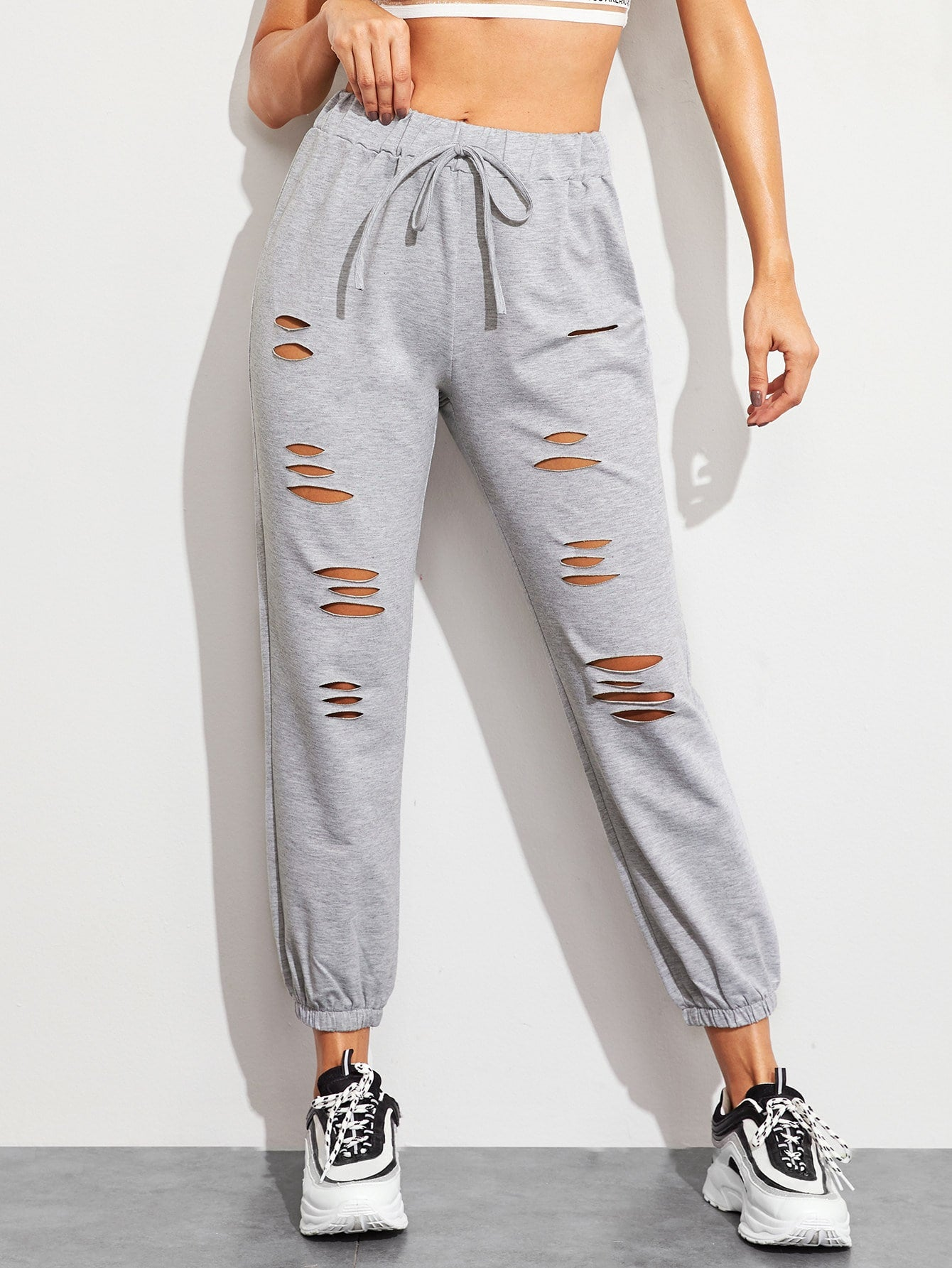 Drawstring Waist Ripped Sweatpants