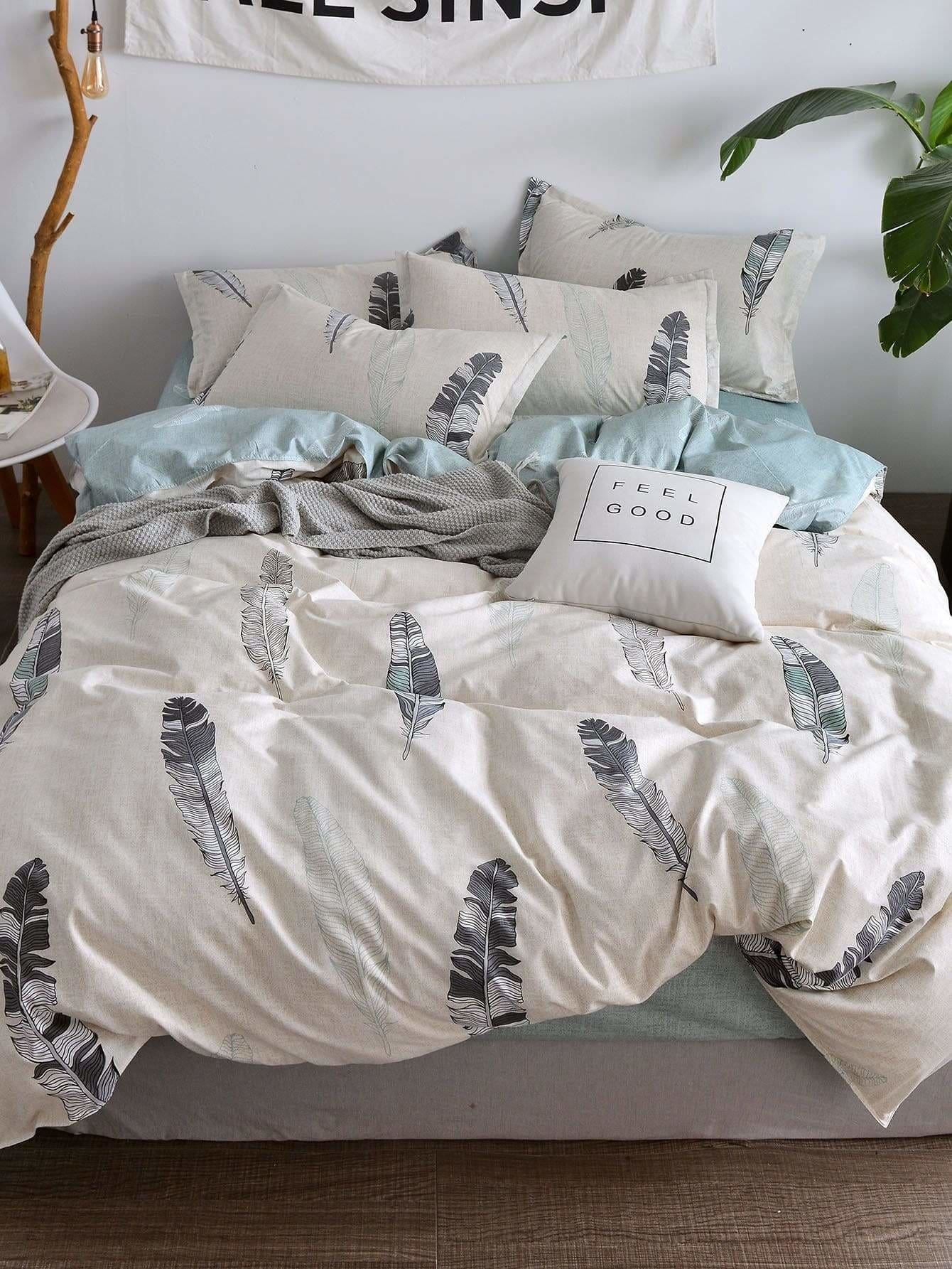 Feather Print Sheet Set - Bedding Sets
