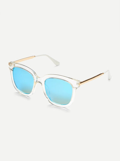 Festival Clear Frame Mirror Lens Sunglasses - Sunglasses