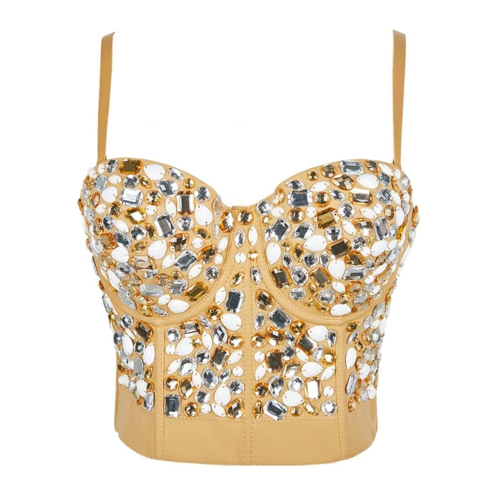 Festival Gold Rhinestone Sleeveless Crop Top - Gold / S - Festival & Glitter