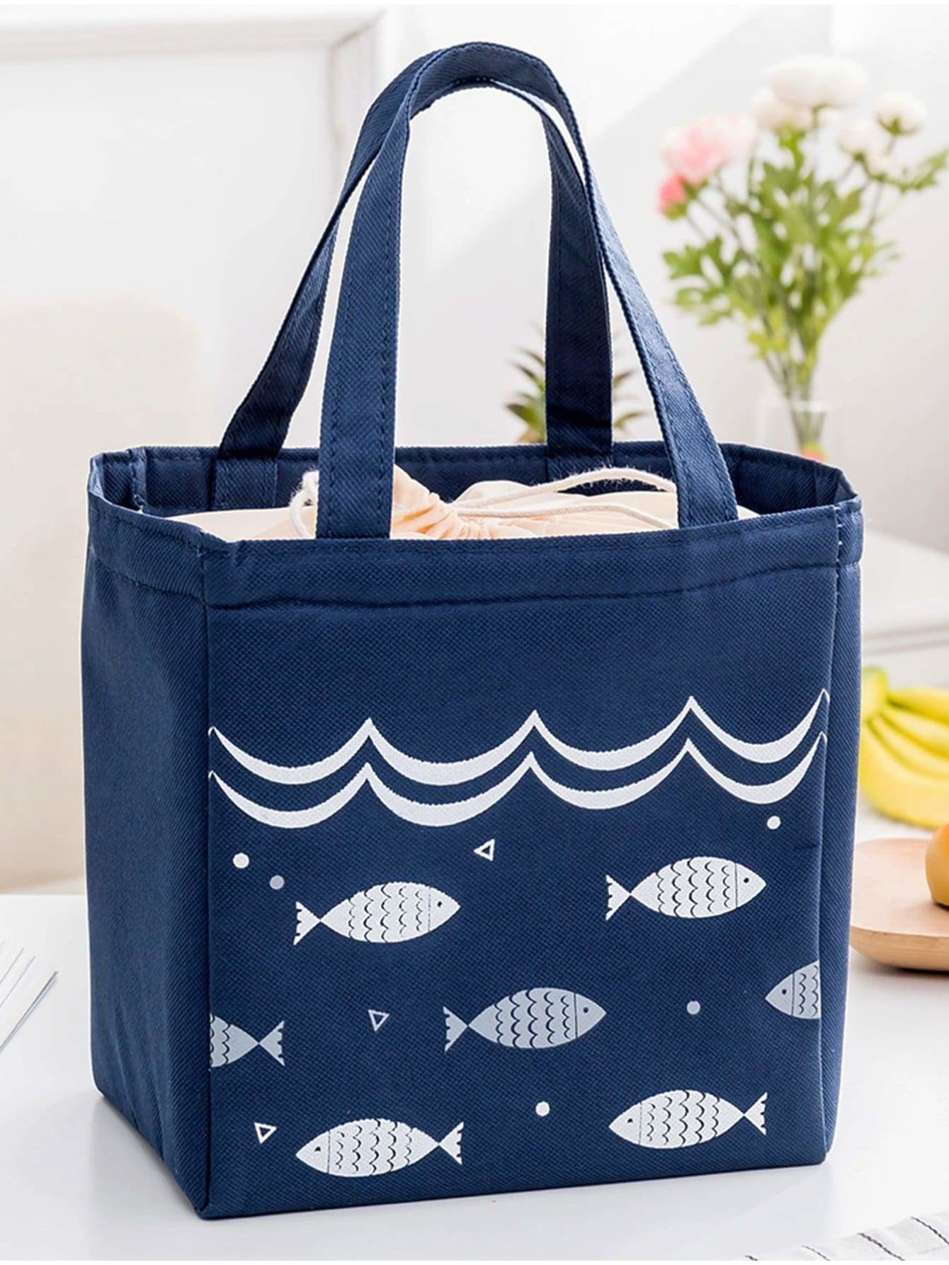 Fish Print Drawstring Lunch Storage Bag - Storage & Organization