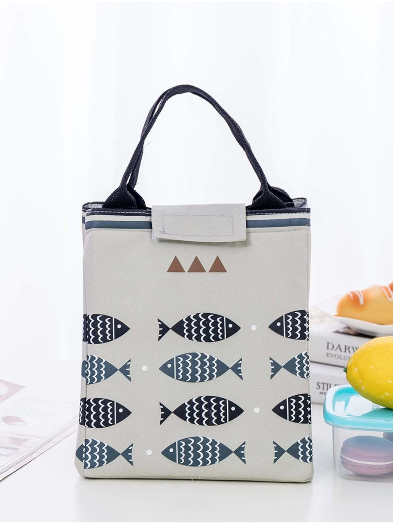Fish Print Velcro Lunch Bag - Storage & Organization