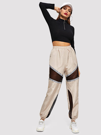 Fishnet Mesh Insert Colorblock Sweatpants - Fittness Leggings