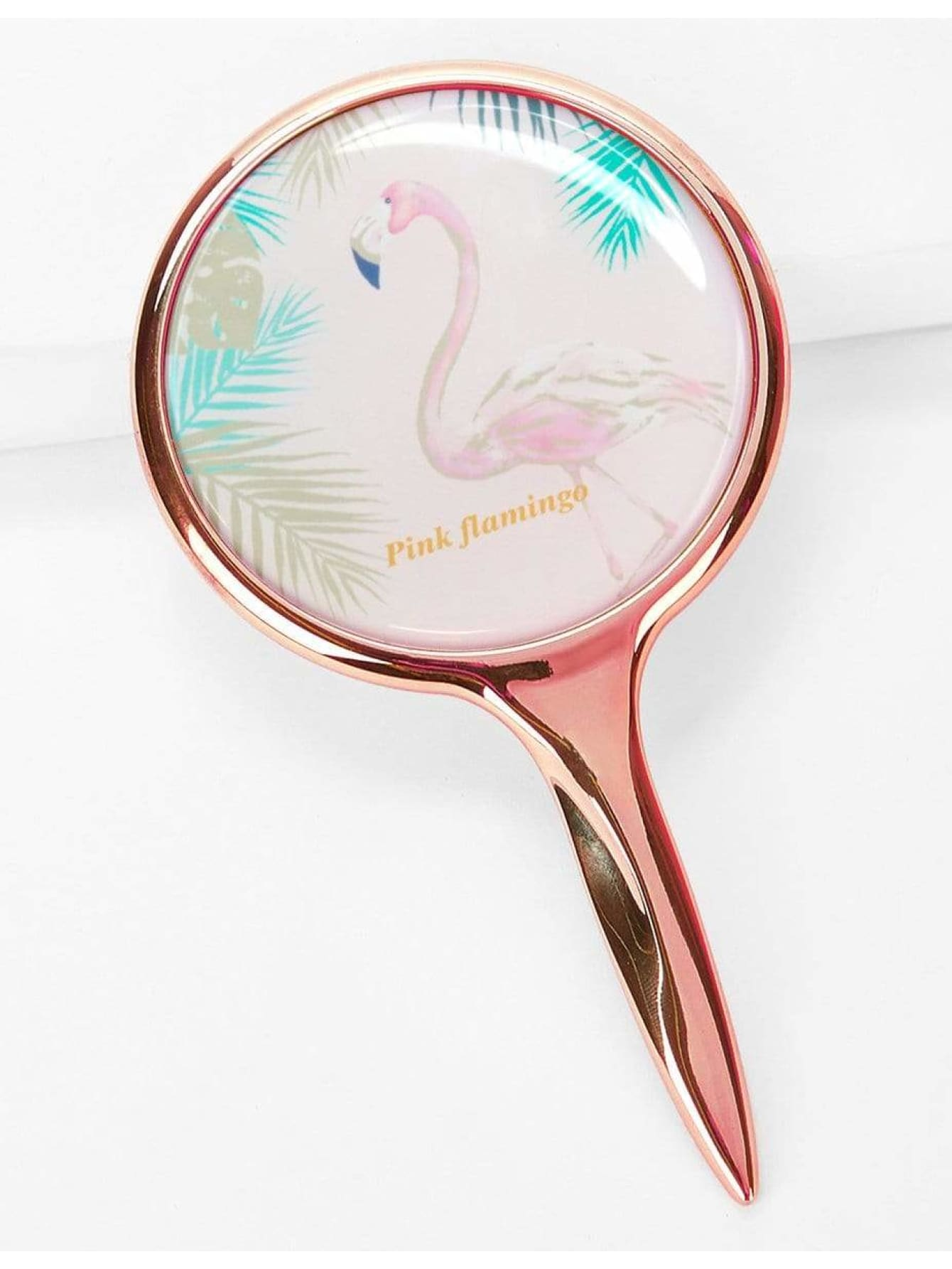 Flamingo Pattern Makeup Mirror With Metallic Handle - Beauty Tools