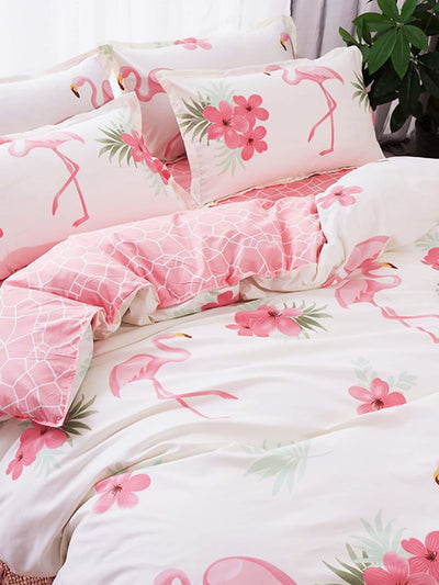 Flamingo Print Duvet Cover Set - Bedding Sets