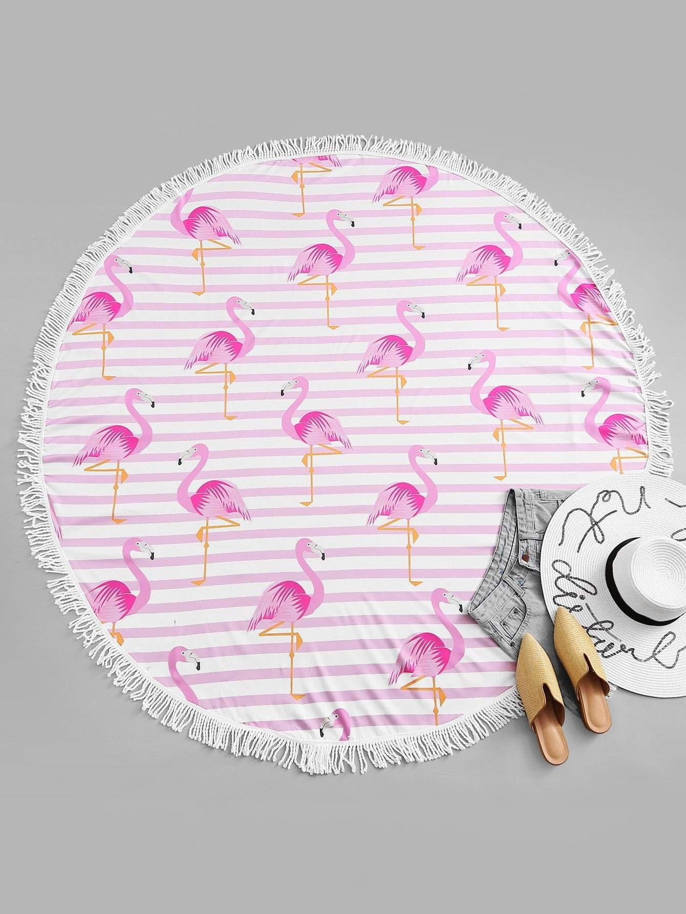 Flamingo Print Fringe Hem Beach Blanket - Beach Accessories