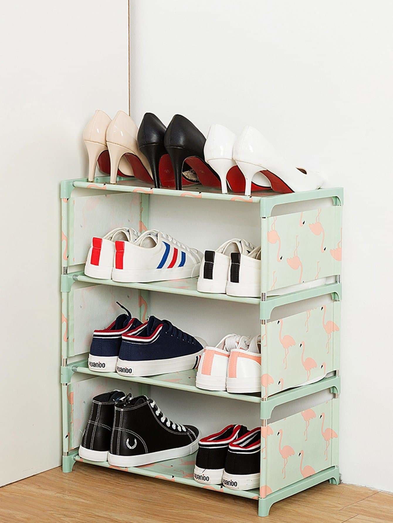 Flamingo Print Shoes Rack - Storage & Organization