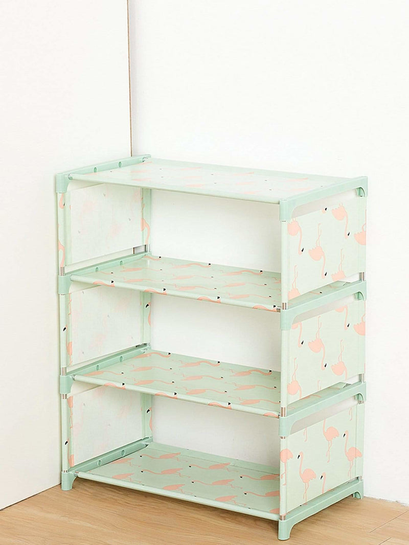 Flamingo Print Shoes Rack
