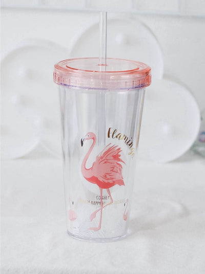 Flamingo Print Straw Cup 380Ml - Drinkware