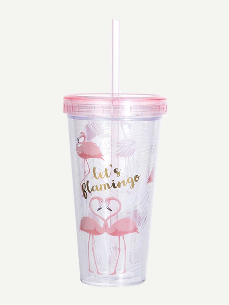 Flamingo Print Straw Cup 380ML