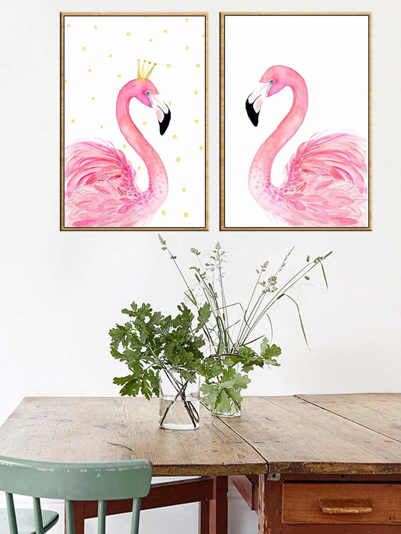 Flamingo Print Wall Art 2Pcs - Wall Art