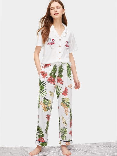 Flamingo & Tropical Print Pajama Set - Nightwears
