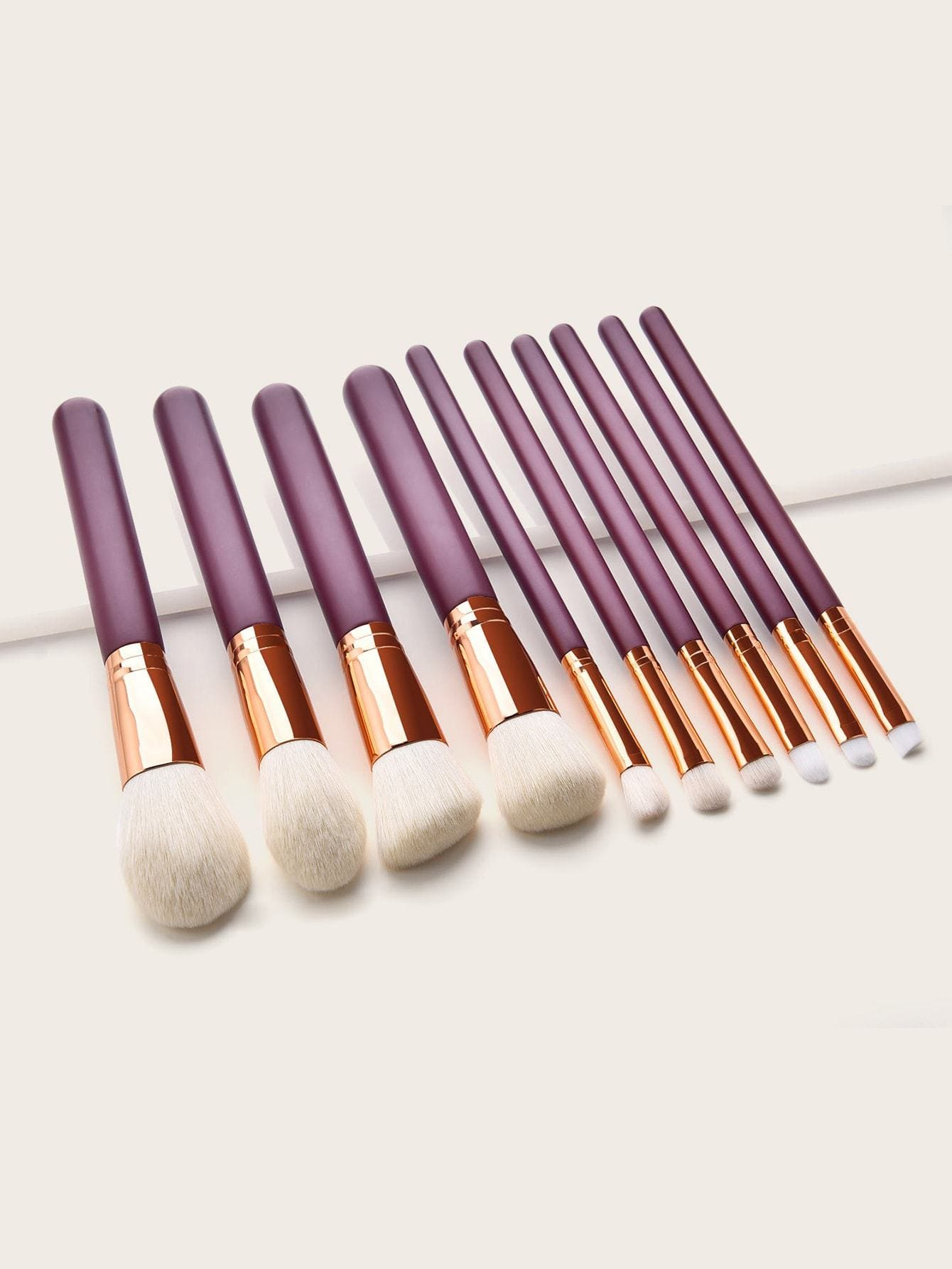 Flat & Angled Shader Brush 10pcs - Makeup Brushes