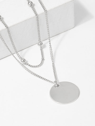 Flat Disc Pendant Layered Necklace - Necklaces