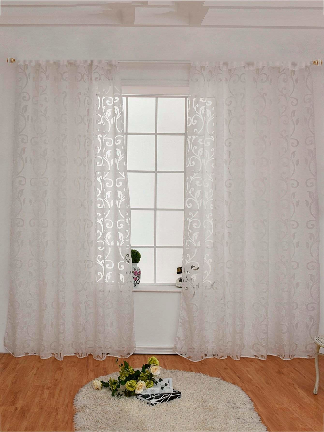 Floral Design Eyelet Sheer Curtain 1pc - Curtains