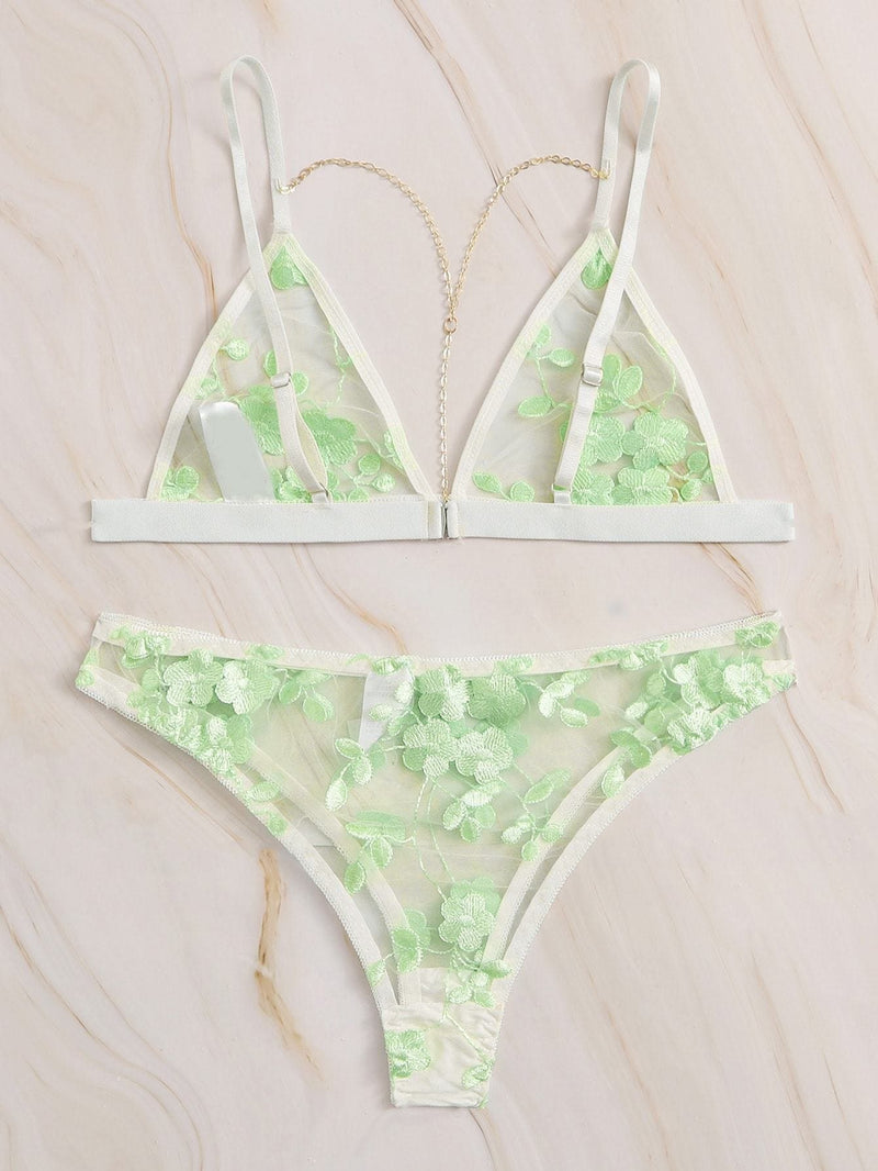 Floral Embroidered Sheer Lingerie Set - S - Lingerie