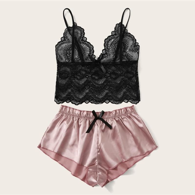 Floral Lace Bralette With Satin Short Pajamas Set - Multi / S