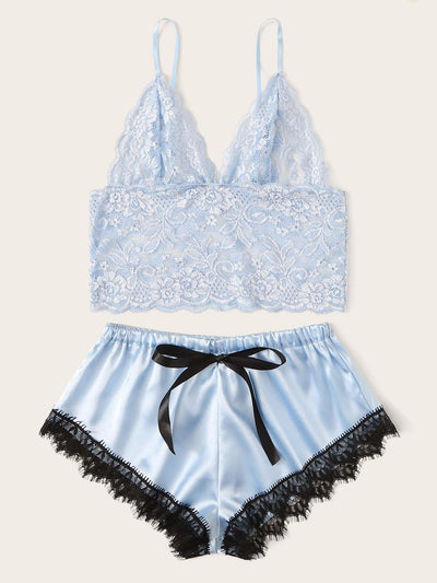 Floral Lace Bralette With Satin Shorts - Nightwears