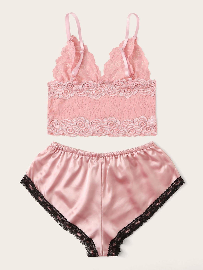 3575e963a9 Floral Lace Bralette With Satin Shorts - S - Nightwears