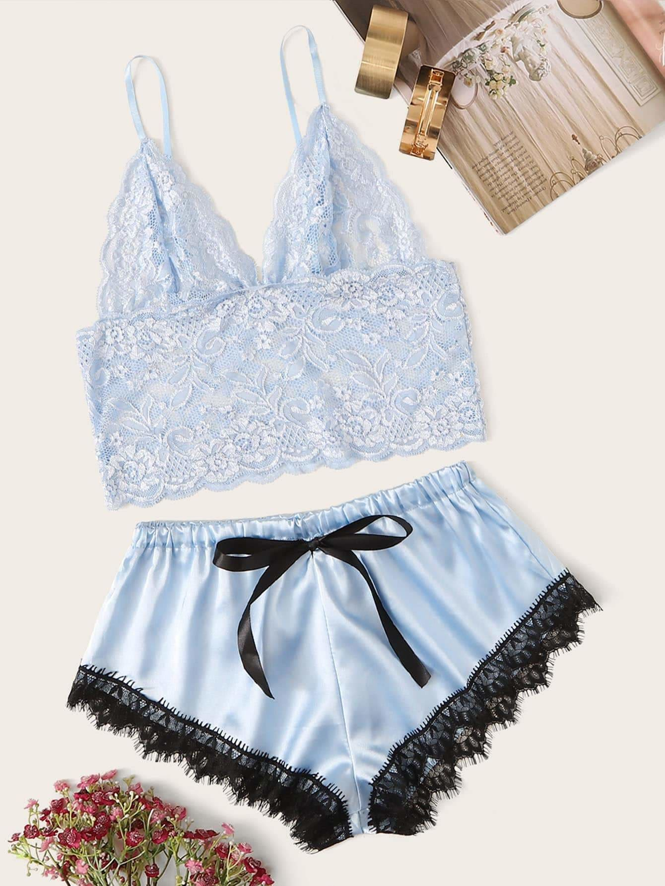 Floral Lace Bralette With Satin Shorts - S - Nightwears
