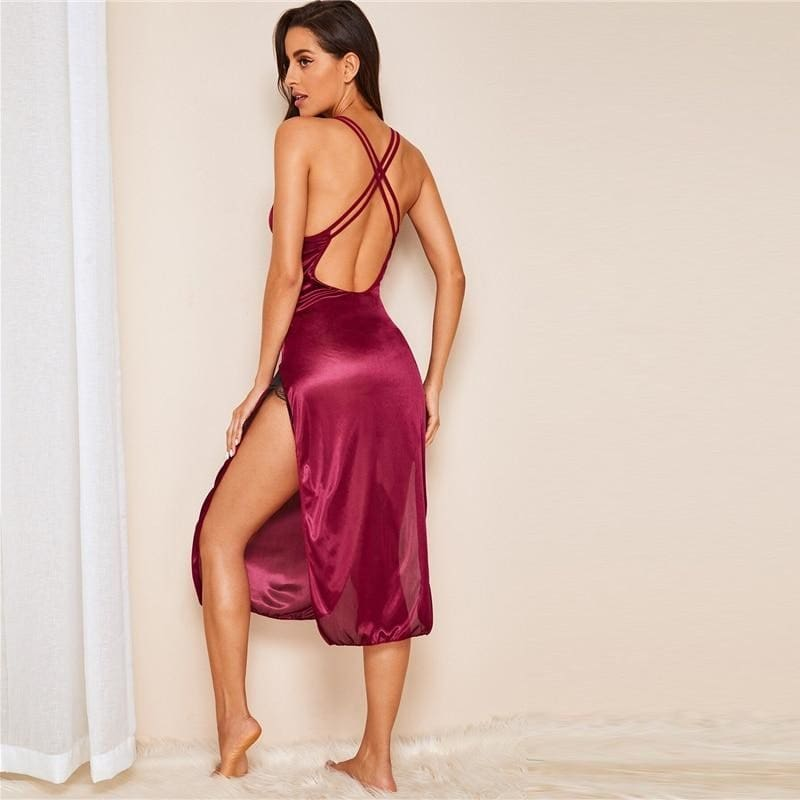Floral Lace Cut Out Satin Nightdress - Burgundy / S - Nightwears