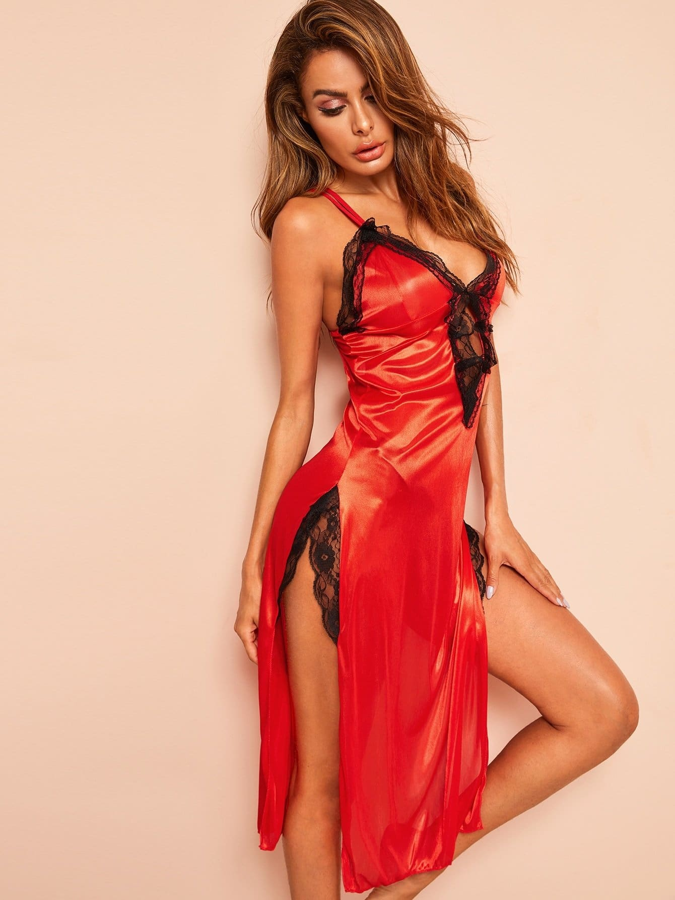 Floral Lace Cutout Satin Slips With Thong