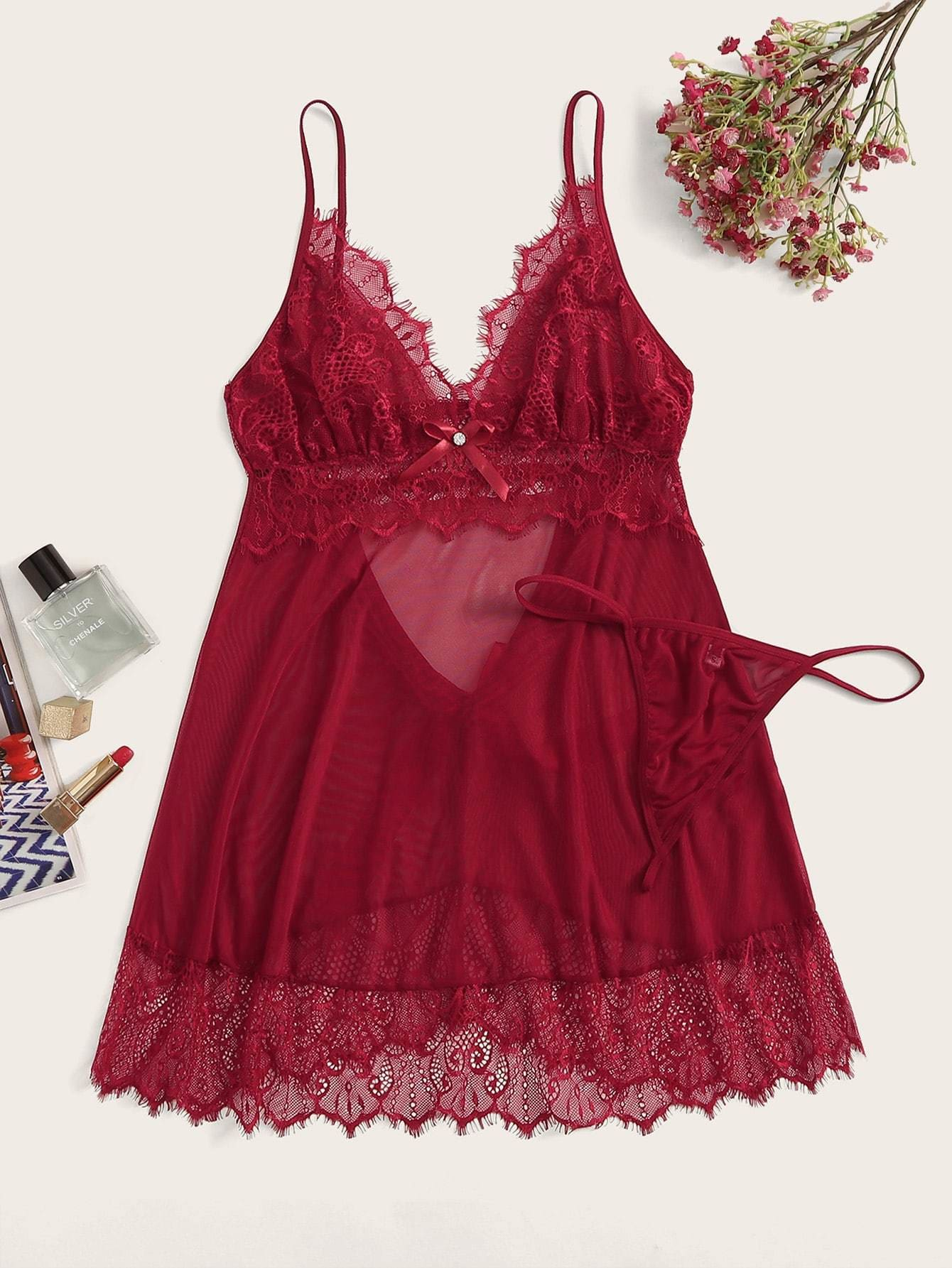 Floral Lace Cutout Slips With Thong - S / Burgundy - Nightwears