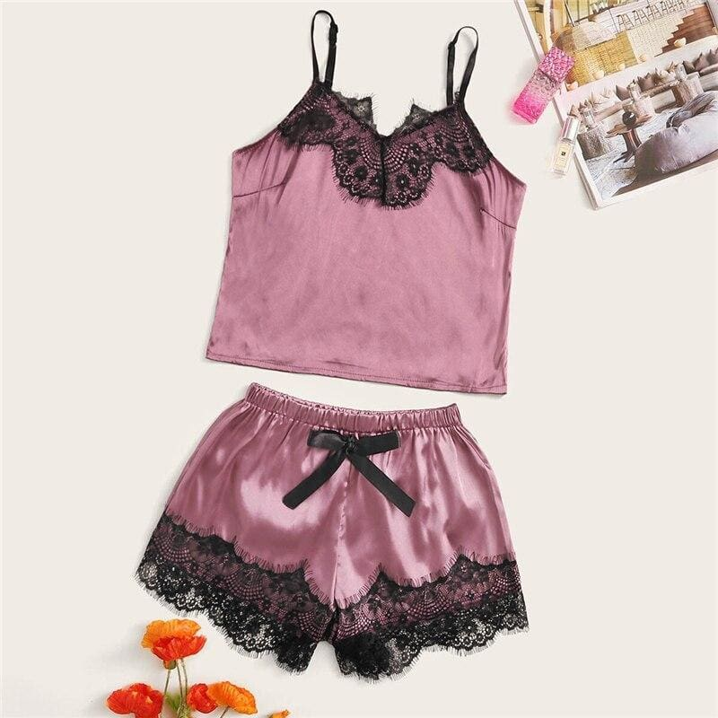 Floral Lace Satin Cami Pajama Set - Purple / S - Nightwears