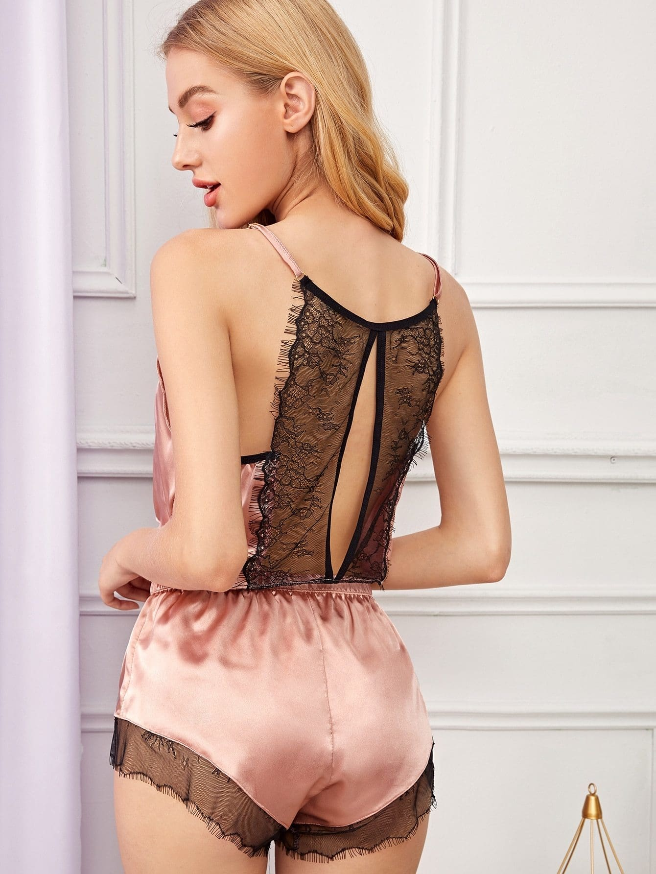 Floral Lace Satin Cami With Shorts - S - Nightwears