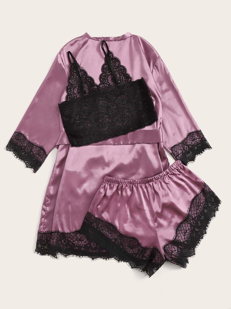 Floral Lace Satin Lingerie Set With Robe - S - Nightwears