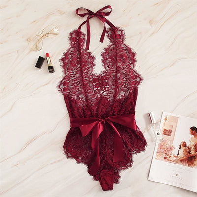 Floral Lace Scallop Knot Halter Sexy Teddy Bodysuit - Burgundy / S - Lingerie