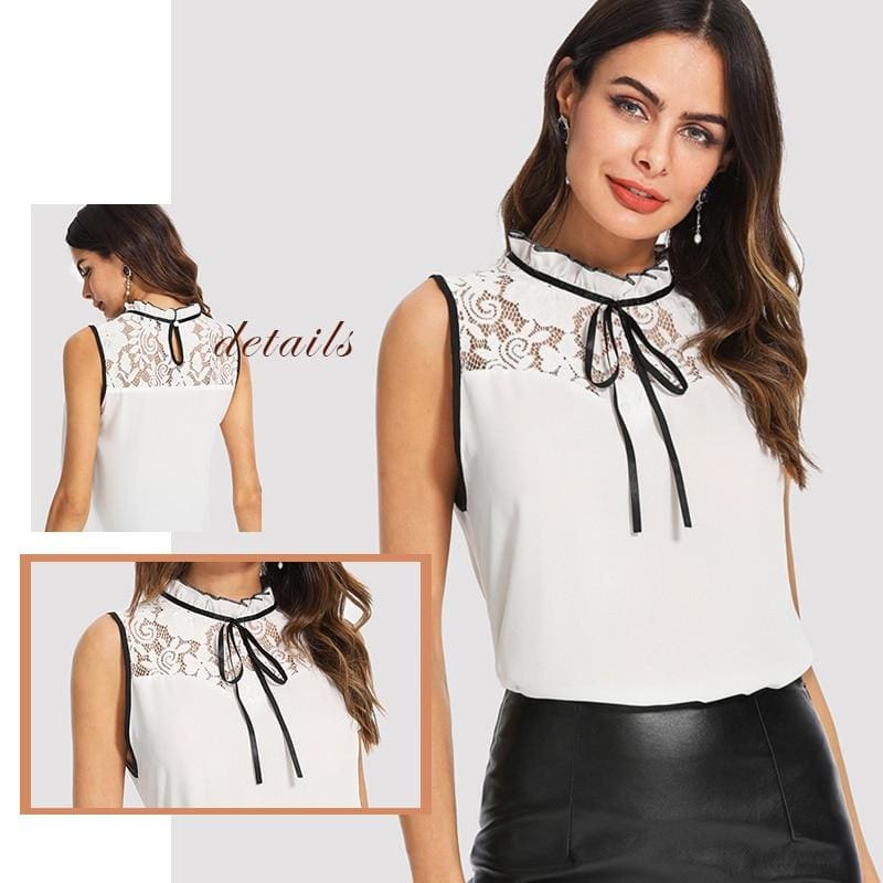 Floral Lace Lace Up Office Blouse