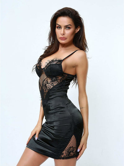 Floral Lace Zip Back Satin Slips - Nightwears