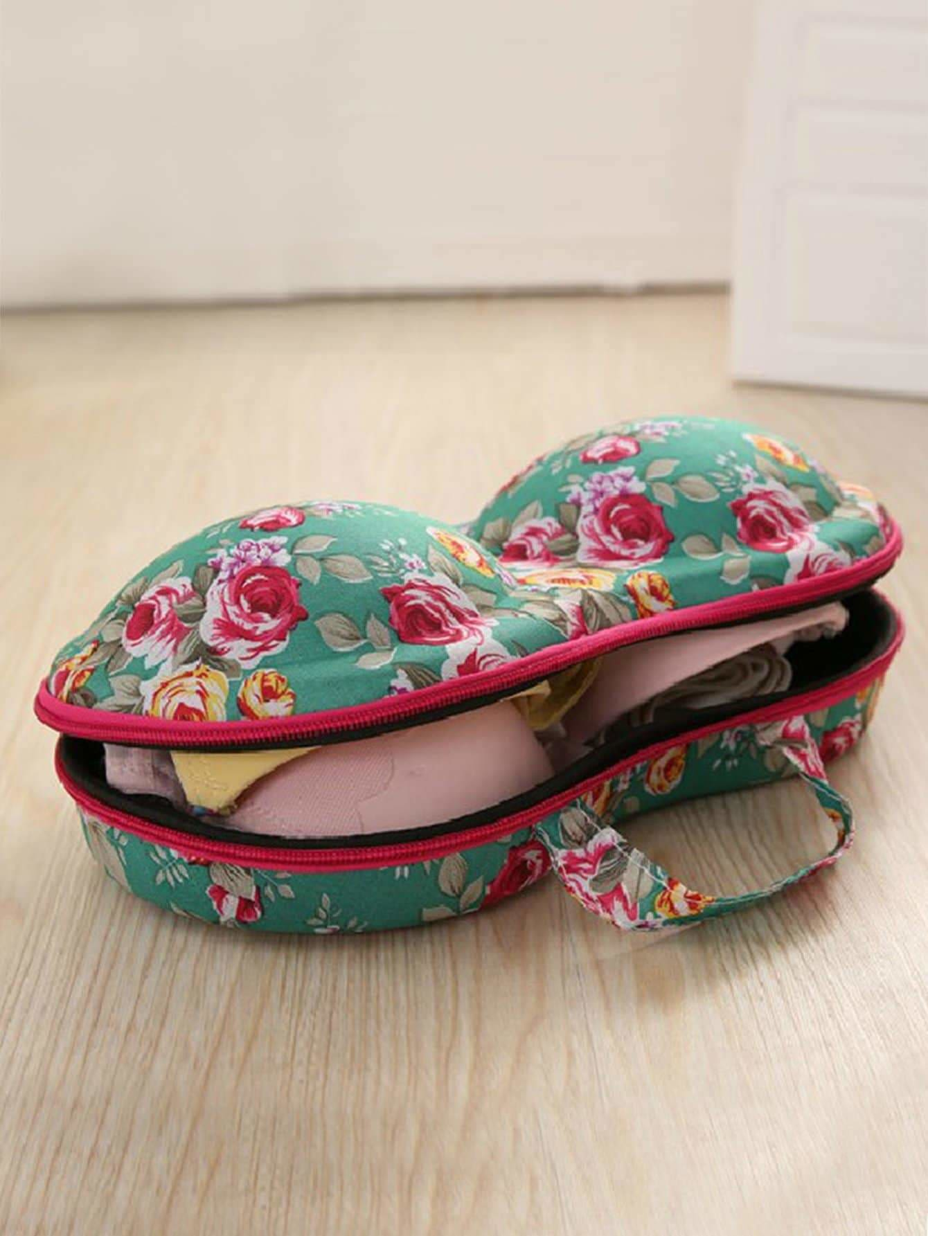 Floral Pattern Bra Zipper Storage Box - Storage & Organization