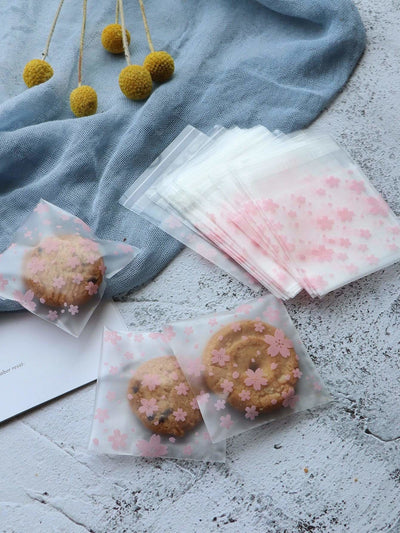 Floral Print Biscuits Bag 100Pcs - Bakeware