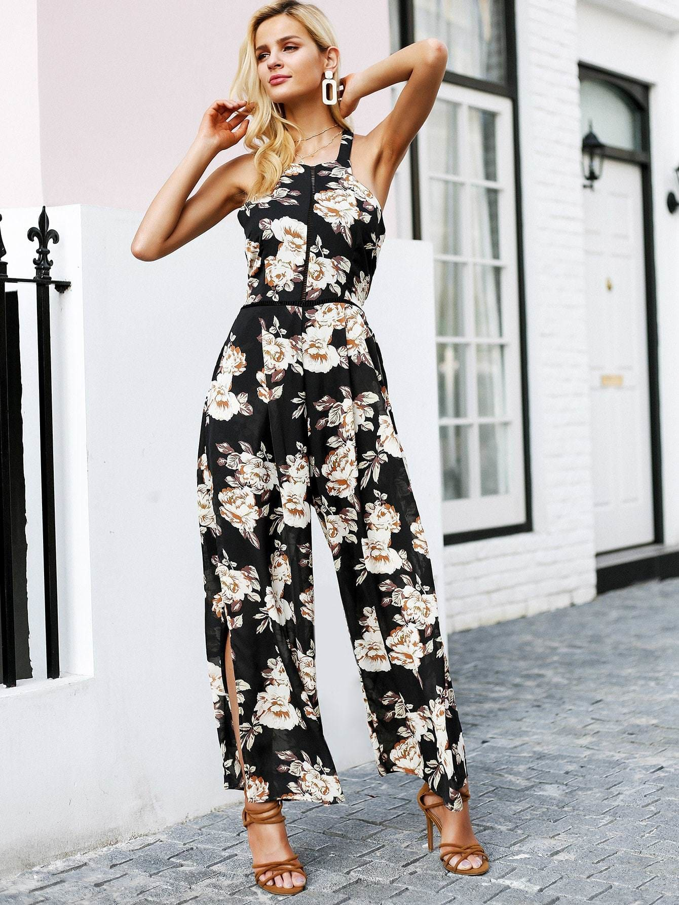Floral Print Halter Neck Backless High Split Jumpsuit