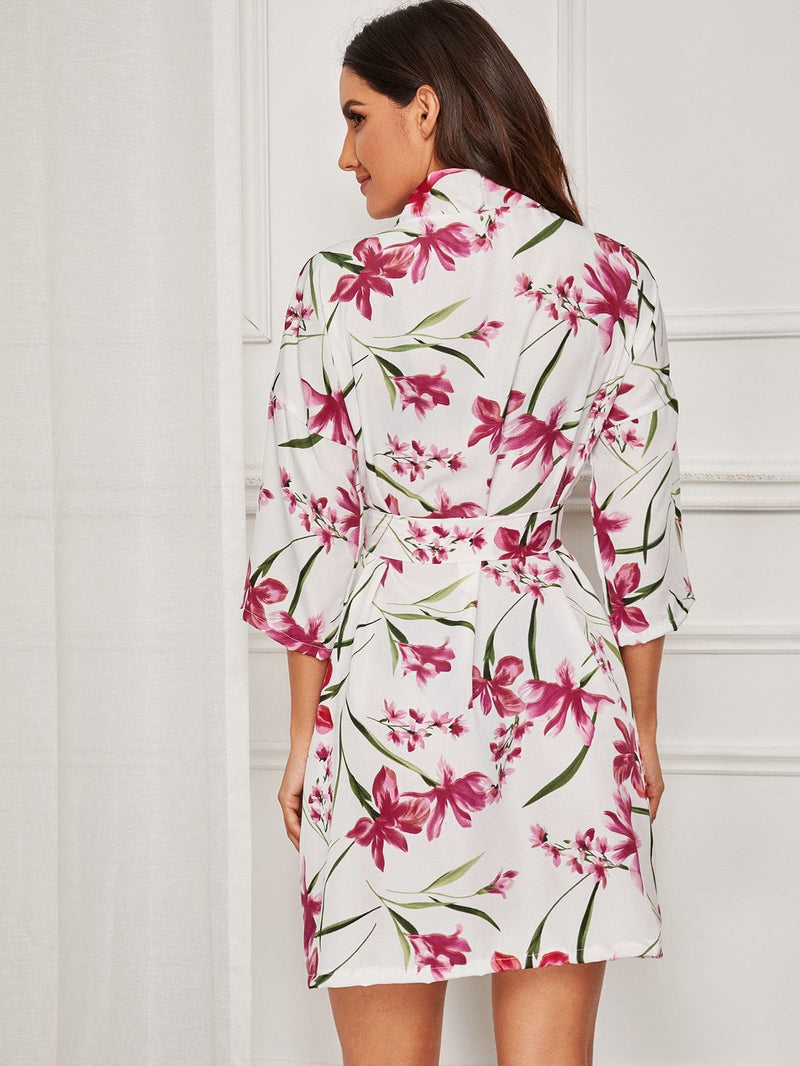 Floral Print Self Belted Robe