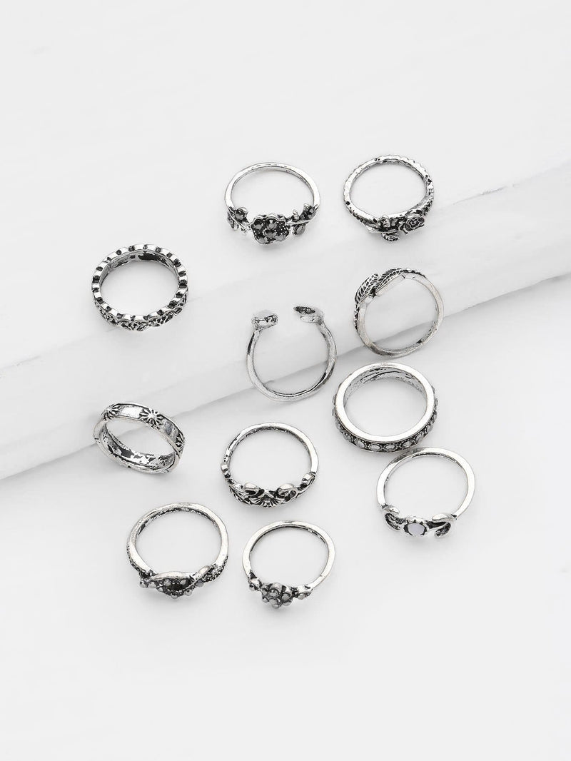 Flower And Leaf Design Ring Set 11Pcs - Rings
