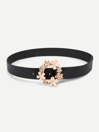 Flower Decorated Circle Buckle Belt - Belts