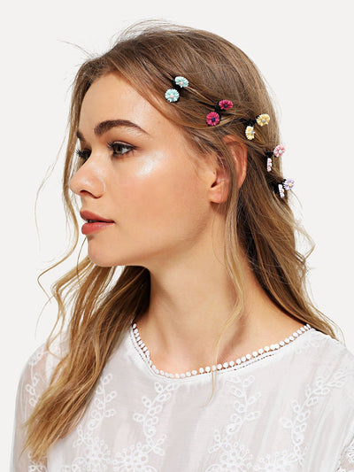 Flower Decorated Hair Clip 5Pcs - Hair Accessories