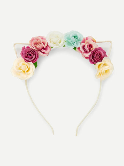 Flower Decorated Headband With Cat Ear - Hair Accessories